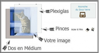 Hauteur en cm: 18 Largeur en cm: 60 Accroche du Sous Verre : Horizontal Face avant en Verre Acrylique : Plexiglas: Plexiglas 1
