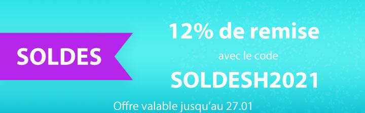 12% de remise avec le code SOLDESH2021